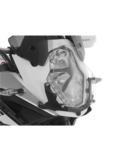 Makrolon headlight protector with quick release fasteners, black bracket for KTM 1050 Adventure/ 1090 Adventure/ 1190 Adventure/