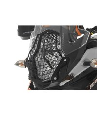 Stainless steel black headlight protector with quick release fasteners, black bracket, for KTM 1050 Adventure/ 1090 Adventure/ 1